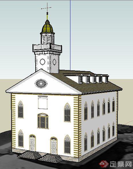 欧式教堂圣殿建筑设计su模型