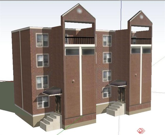 4层现代办公楼建筑设计SU平面天正如何绘制土方v平面模型图片