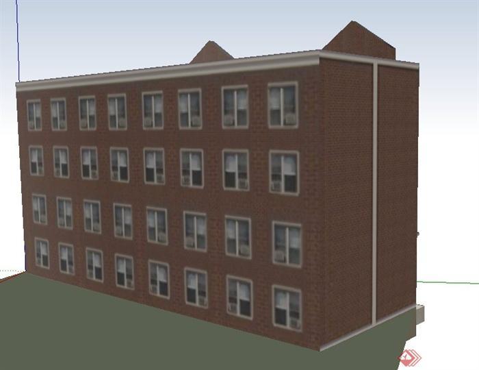 4层现代办公楼建筑设计SU模型色弱能不能干室内设计图片