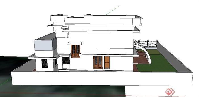 现代两层乡村别墅住宅建筑设计SU模型