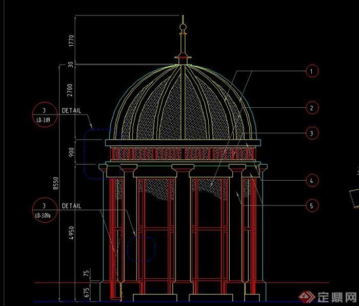园林景观欧式带斗拱圆形亭子设计cad施工图
