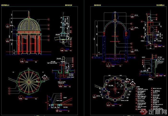 园林景观欧式带斗拱圆形亭子设计cad施工图图片