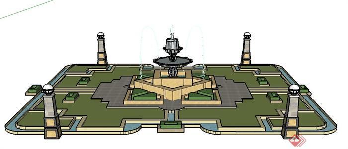 某园林景观节点喷泉水景设计su模型(1)