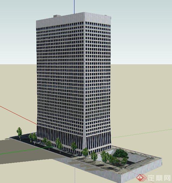 某现代风格高层写字楼建筑su模型
