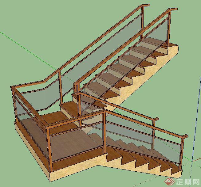 转折楼梯su模型