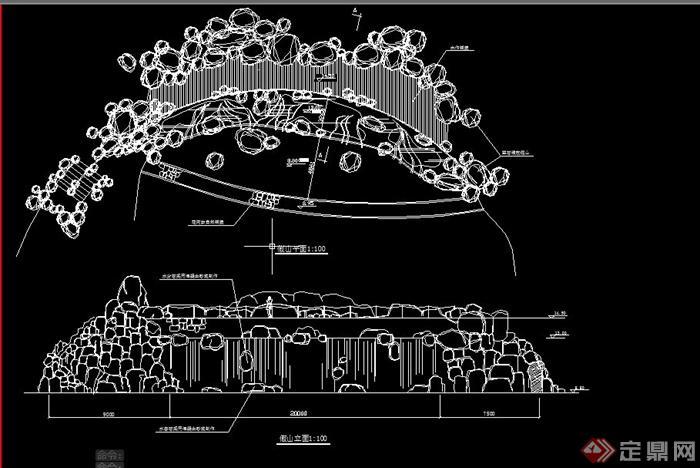 园林景观假山瀑布设计CAD施工图,该设计图纸内容有假山瀑布立面图和平面图设计施工图,图纸制作细致,具有一定的参考价值。