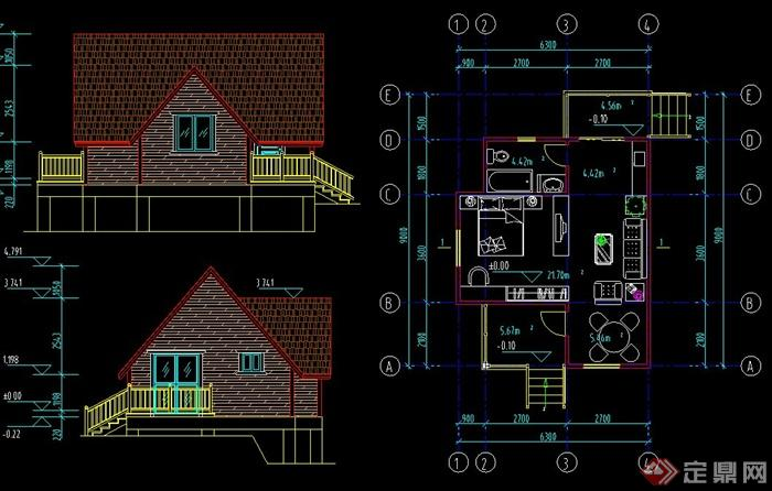 50平米木质住宅小屋建筑设计cad方案图
