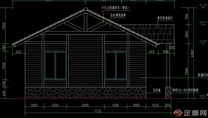 某单层木质小屋建筑设计cad方案图