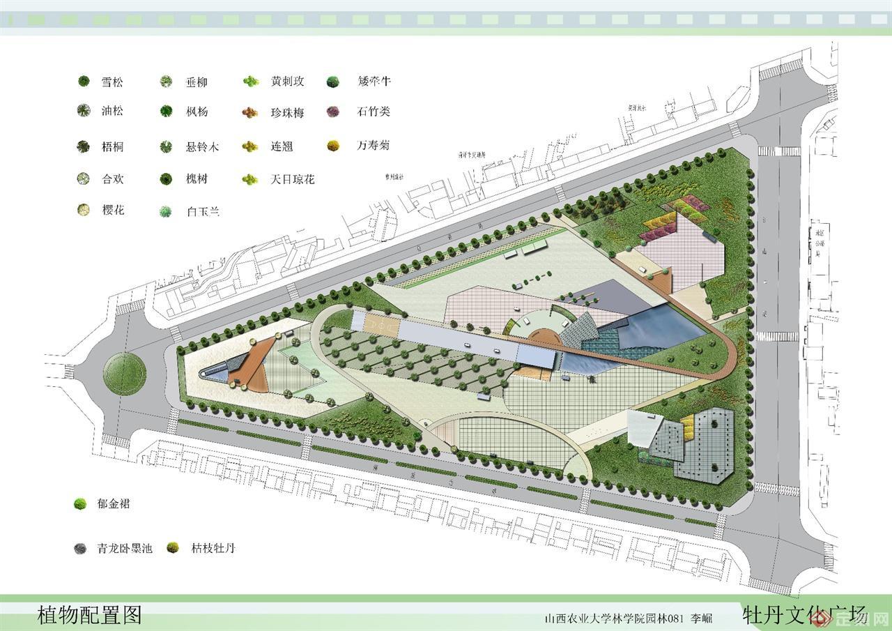 植物广场手绘平面图