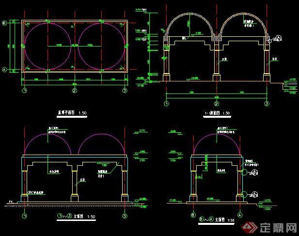 园林景观拱形双亭施工图