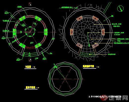 园林景观欧式圆顶休息亭施工图