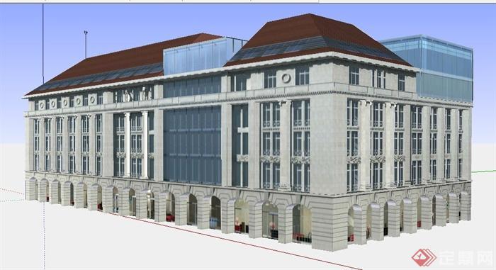 某多层欧式风格办公楼建筑设计su模型