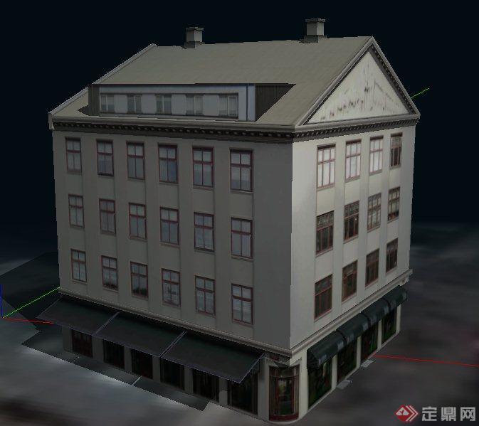 现代四层房屋办公楼建筑设计su平面模型商业设计图图解图片