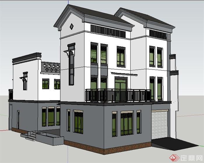 现代中式风格私人别墅建筑设计su模型
