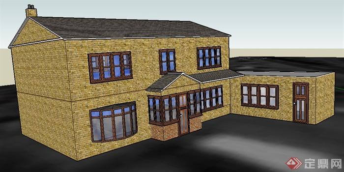 现代中式二层民房住宅建筑设计su模型
