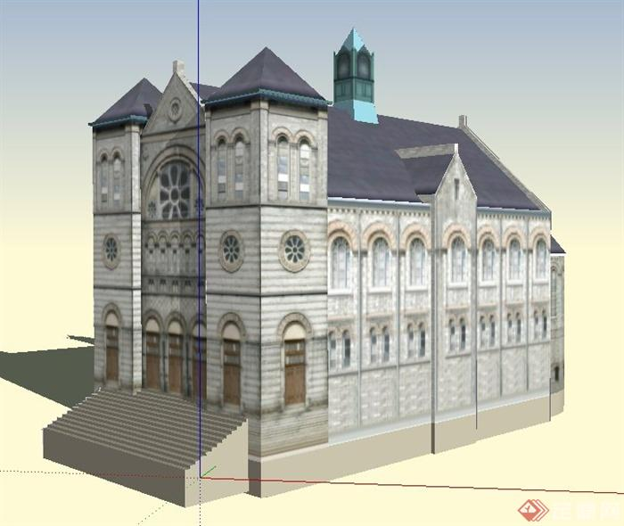 某欧式风格法院办公建筑设计su模型