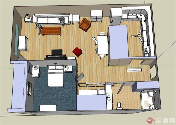 单身公寓装饰布置设计su模型