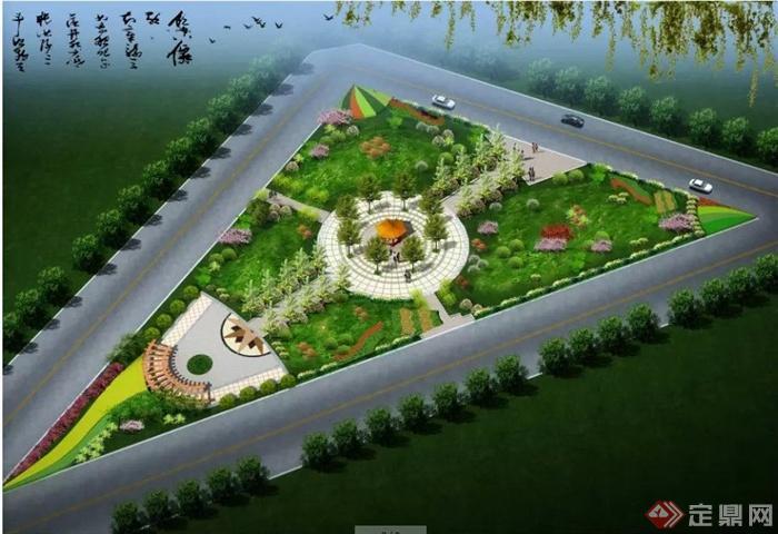 闲广场效果图及庭院景观平面图图片