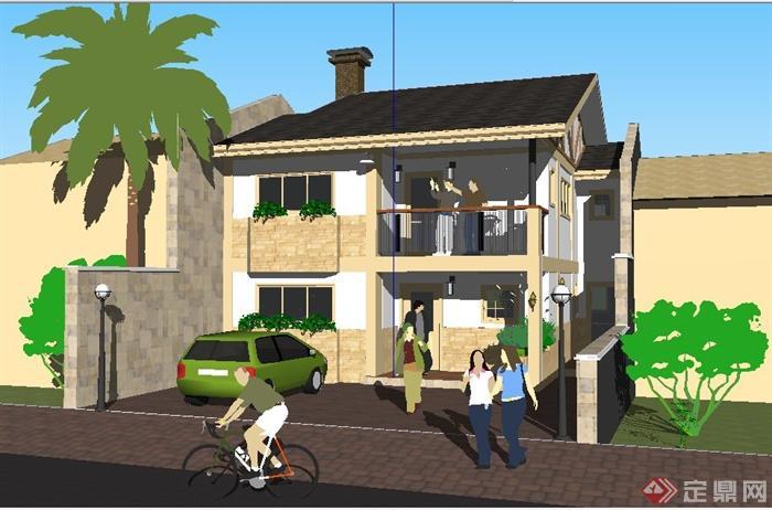 现代中式二层小别墅住宅建筑设计su模型