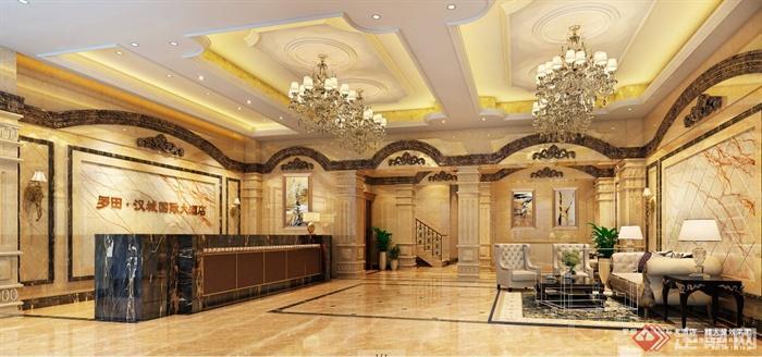 欧式商务酒店大堂室内设计方案(含效果图)