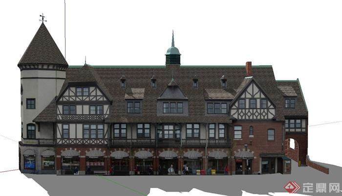 某欧式四层阁楼式商业街建筑设计su模型(1)