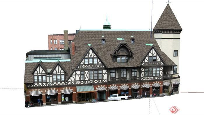 某欧式四层阁楼式商业街建筑设计su模型(4)