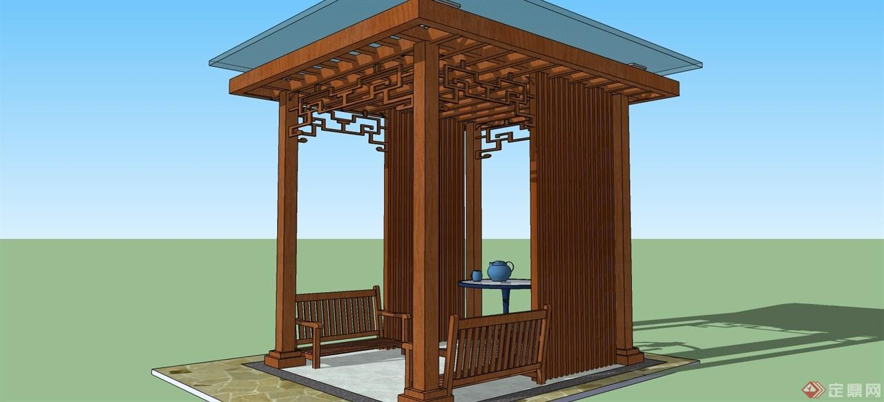 根据业主要求制作的木结构凉亭