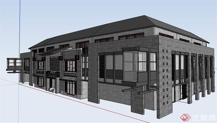 现代中式风格酒店建筑设计su模型(2)图片