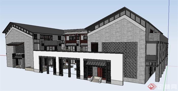 现代中式风格酒店建筑设计su模型(3)图片