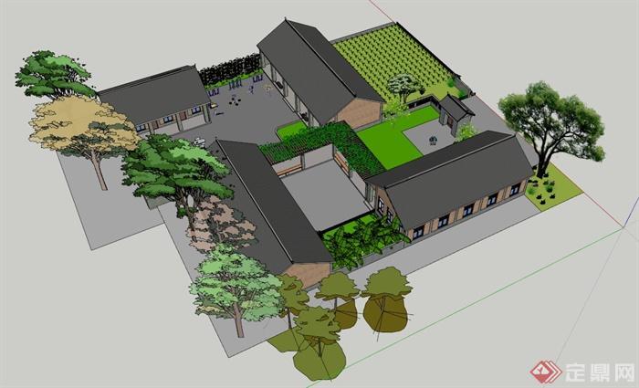 某养老院建筑规划设计su模型[原创]图片