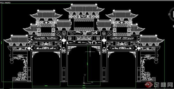 古典中式三台牌坊设计cad方案图