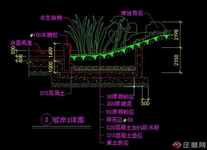 9款园林景观驳岸设计cad施工图