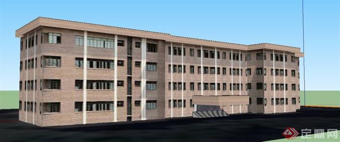 现代四层围合办公楼建筑设计su模型[The教程矢量绘制插画图片