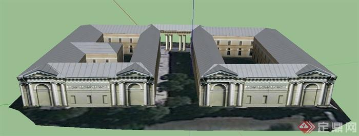 某欧式两层国务院办公楼建筑设计su模型
