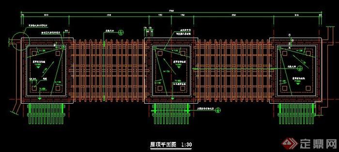 欧式风格大门及门房施工图