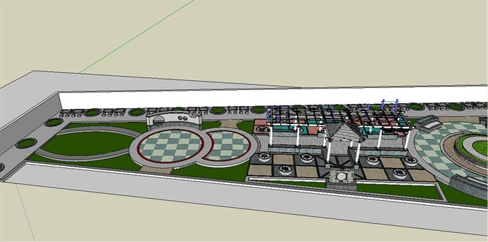 某个小广场景观设计su模型