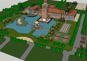 欧式庄园别墅景观设计su(草图大师)模型图片