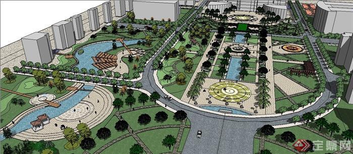 現代風格市民廣場景觀設計su模型