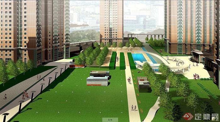 效果图 景观/现代风格高层住宅小区建筑及景观效果图