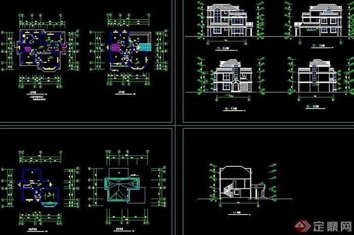 某欧式两层别墅建筑设计cad方案详图
