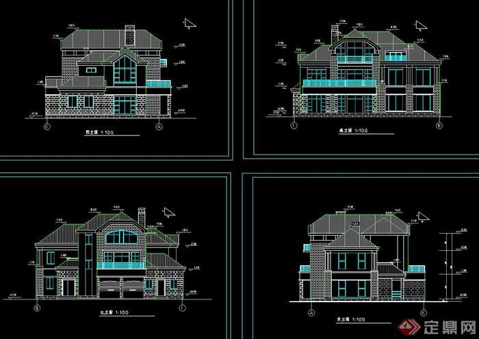 某欧式三层带车库别墅建筑设计cad方案图
