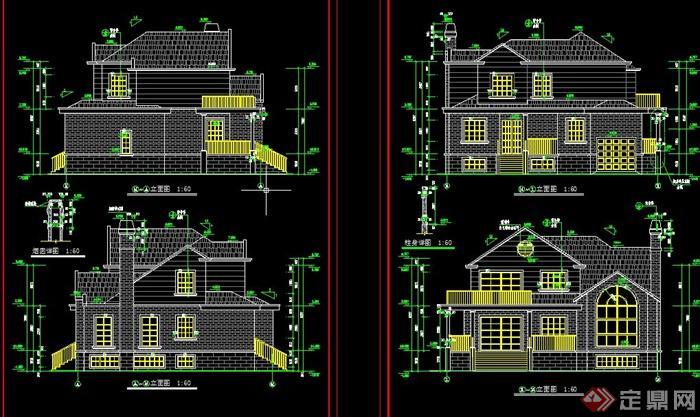 某欧式两层砖砌别墅建筑设计cad方案图
