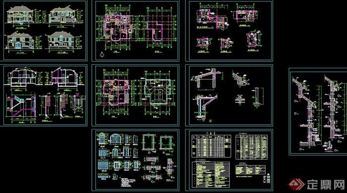 某两层欧式瓦面别墅建筑设计cad方案图
