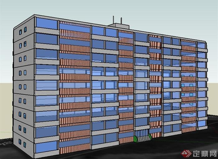 小高層辦公樓建筑設計su概念模型,大致的建筑外觀設計,制作簡潔完整,附帶有部分材質,可供建筑設計參考使用。