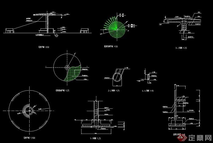 园林景观圆形单柱花架设计cad施工图