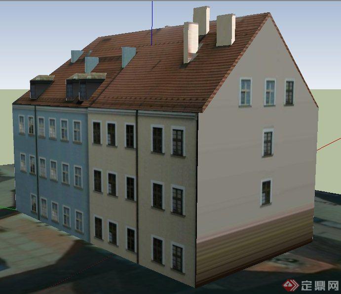 简欧三层办公楼建筑设计su模型
