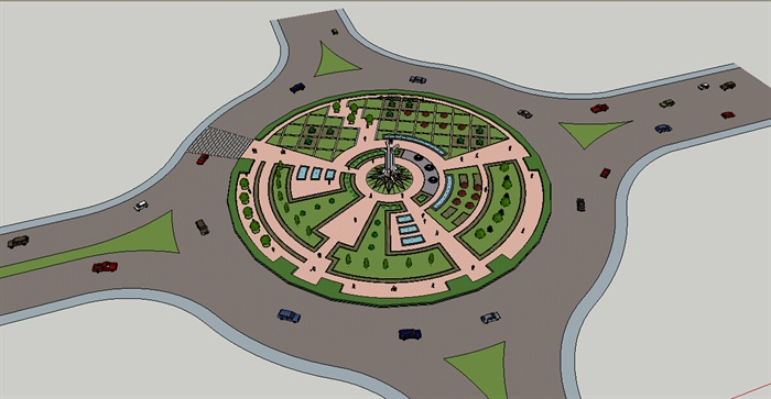十字路口圆形广场景观设计su模型