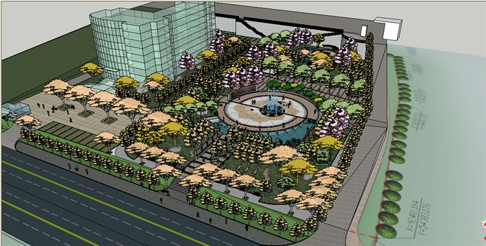 某办公楼前广场景观环境设计su模型