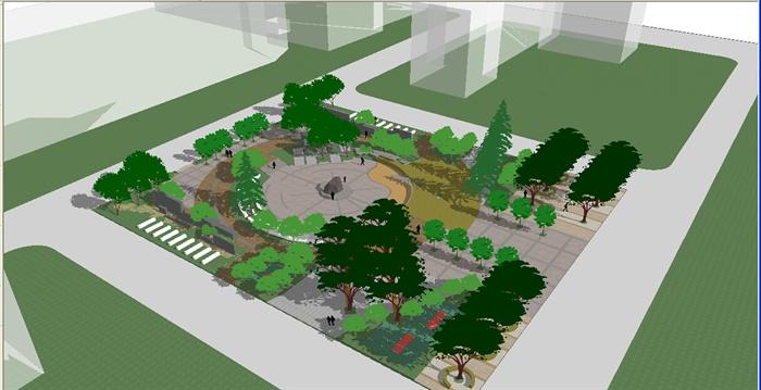 某现代小广场景观规划设计su模型
