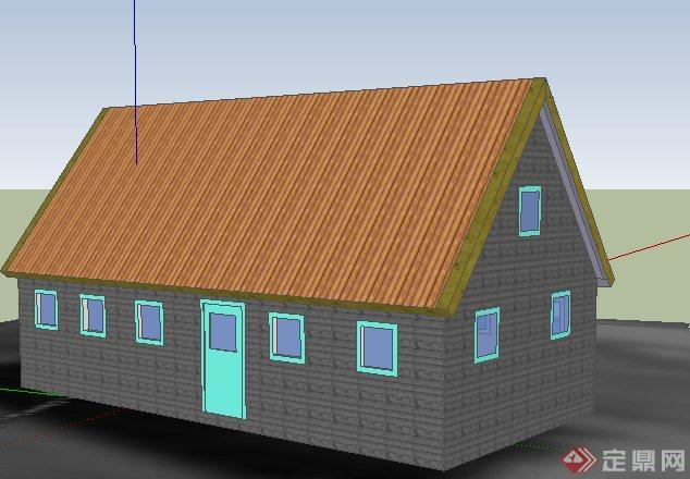 简约单层民房住宅建筑设计su模型